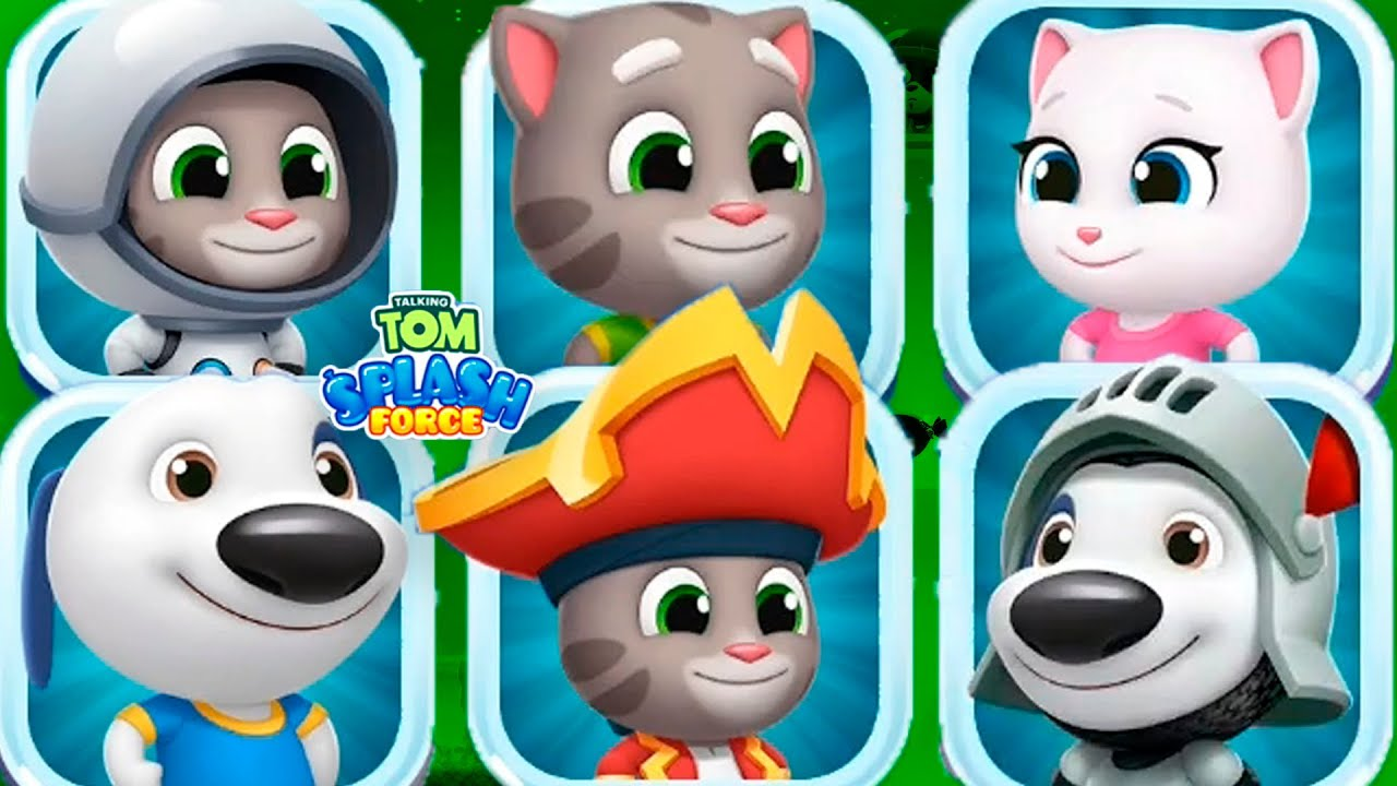 TALKING TOM SPLASH FORCE - All characters Part 1 - Gameplay, Android Mobile ios