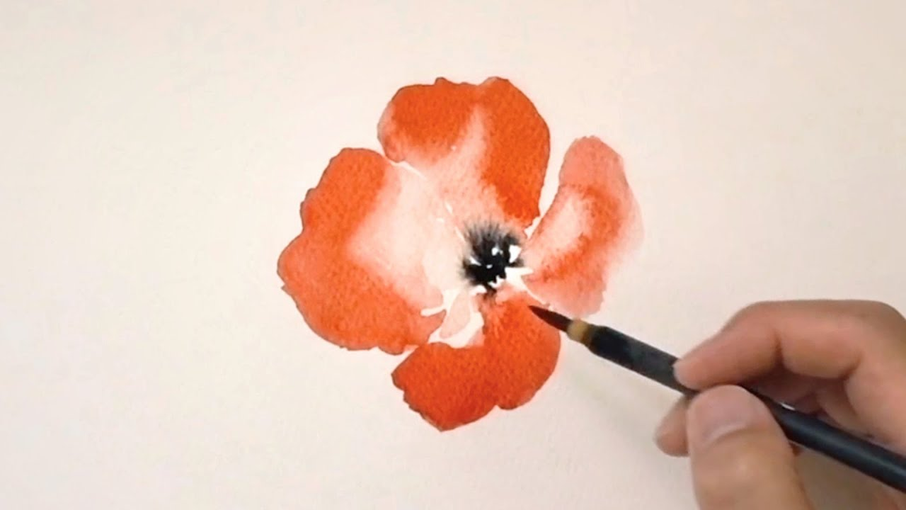 Watercolor Poppy Flower Painting / Drawing a Couple