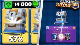 Clash Royale - 57 LIGHTNING CHESTS OPENING! MASSIVE 14000 GEMS LEGENDARY HUNTING! (Havoc Gaming)