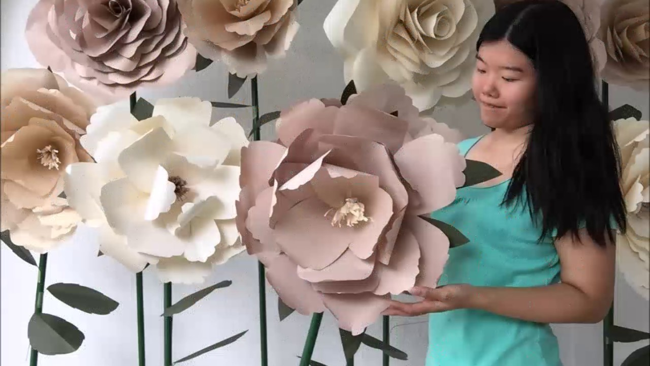 Diy Standing Huge Paper Flowers By Evermore Flower Youtube