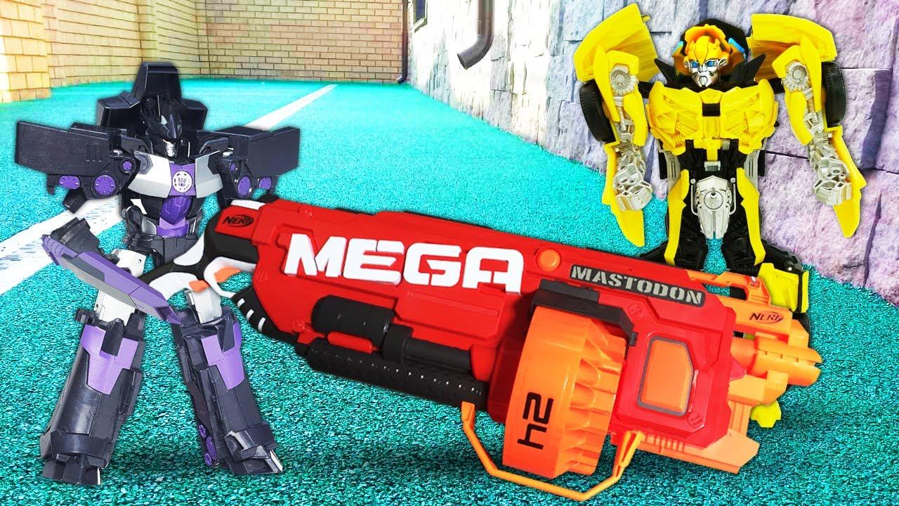 Игры для мальчиков – Роботы Трансформеры и стрелялки с бластерами Нерф – Видео с игрушками