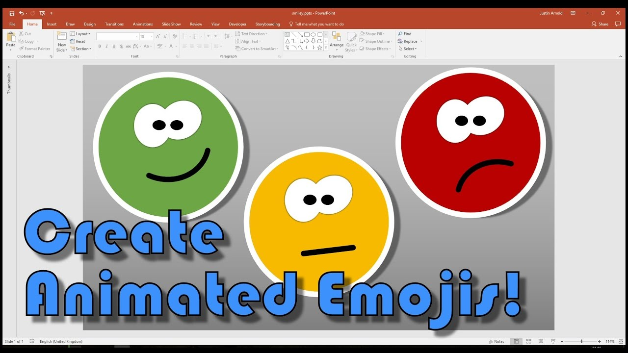 create your own animated smiley emojis in powerpoint youtube
