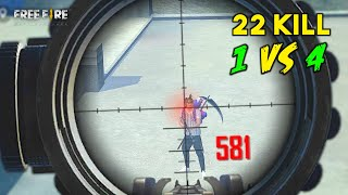 Solo vs Squad 22 Kill AWM and M82B OverPower Gameplay Must Watch - Garena Free Fire