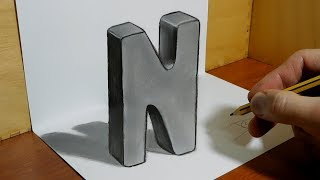 3D Trick Art on Paper, Letter N   Optical Illusion