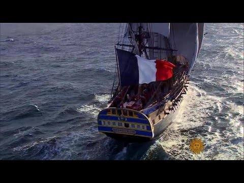 French warship replica sets sail for America