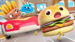 Hamburger and Little Car   Yummy Foods Animation   Kids Cartoon   Nursery Rhymes   BabyBus