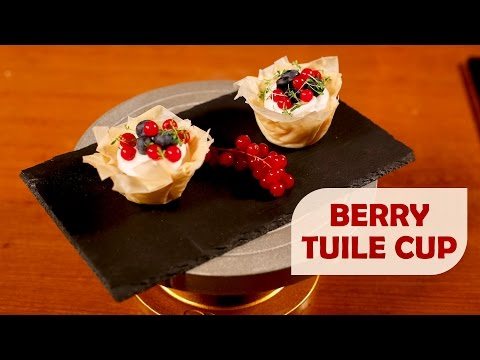 Eggless White Chocolate Mousse in Berry Tuile Cup | Meghna's Food Magic | Pure Magic #5