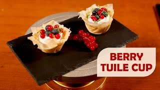 Berry Tuile Cup with White Chocolate Mousse