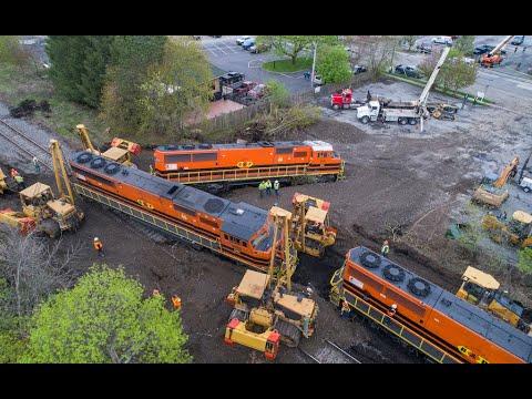 Buffalo & Pittsburgh Train Derailment East Aurora, NY Drone