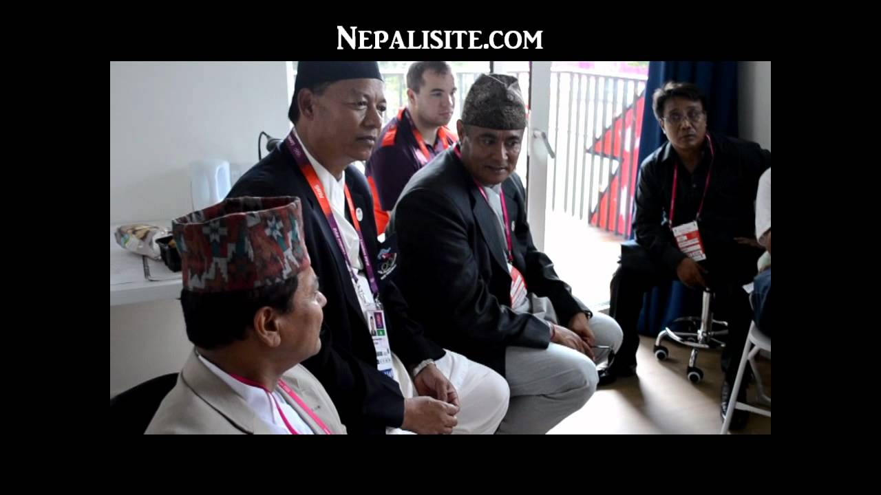 Nepali Ambassador to UK speaking to Nepalese Olympic Team
