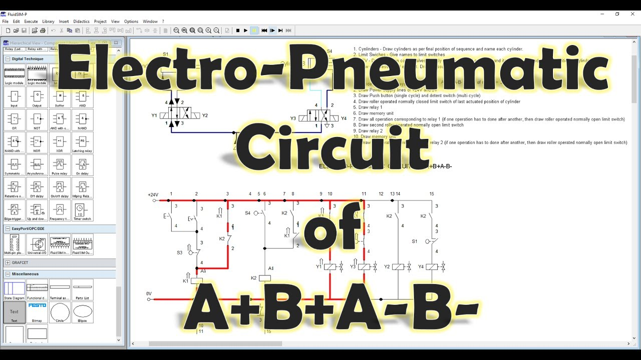 fluidsim mechatronics electro pneumatic circuit of a b a b explained  [ 1280 x 720 Pixel ]