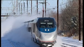 Amtrak & NJ Transit Kick Up Snow at Hamilton!! 1/3/14