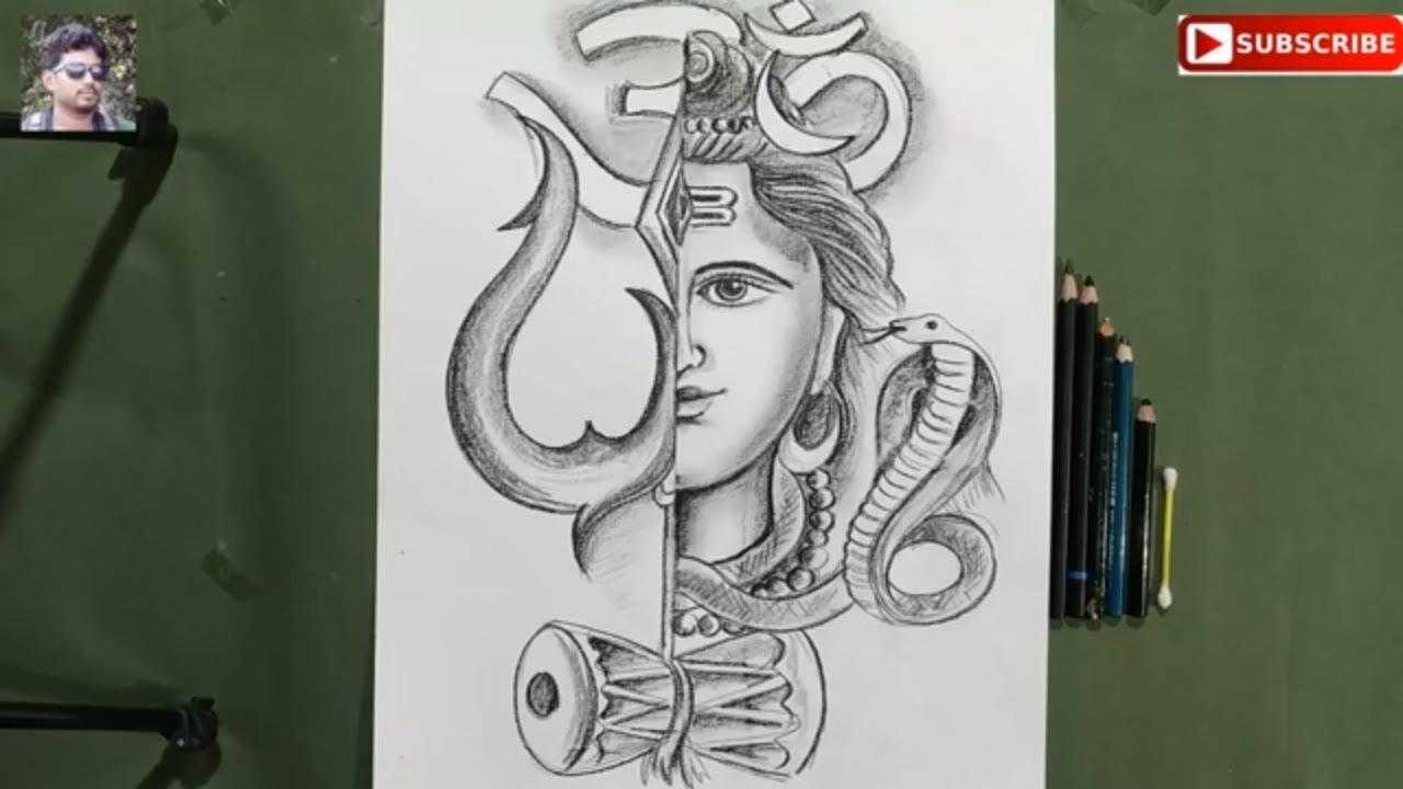 Shiva Ratri Special Shiv Thakur Drawing For Kids How To Draw Om Namah Shivaya Pencil Shading Shiva Youtube
