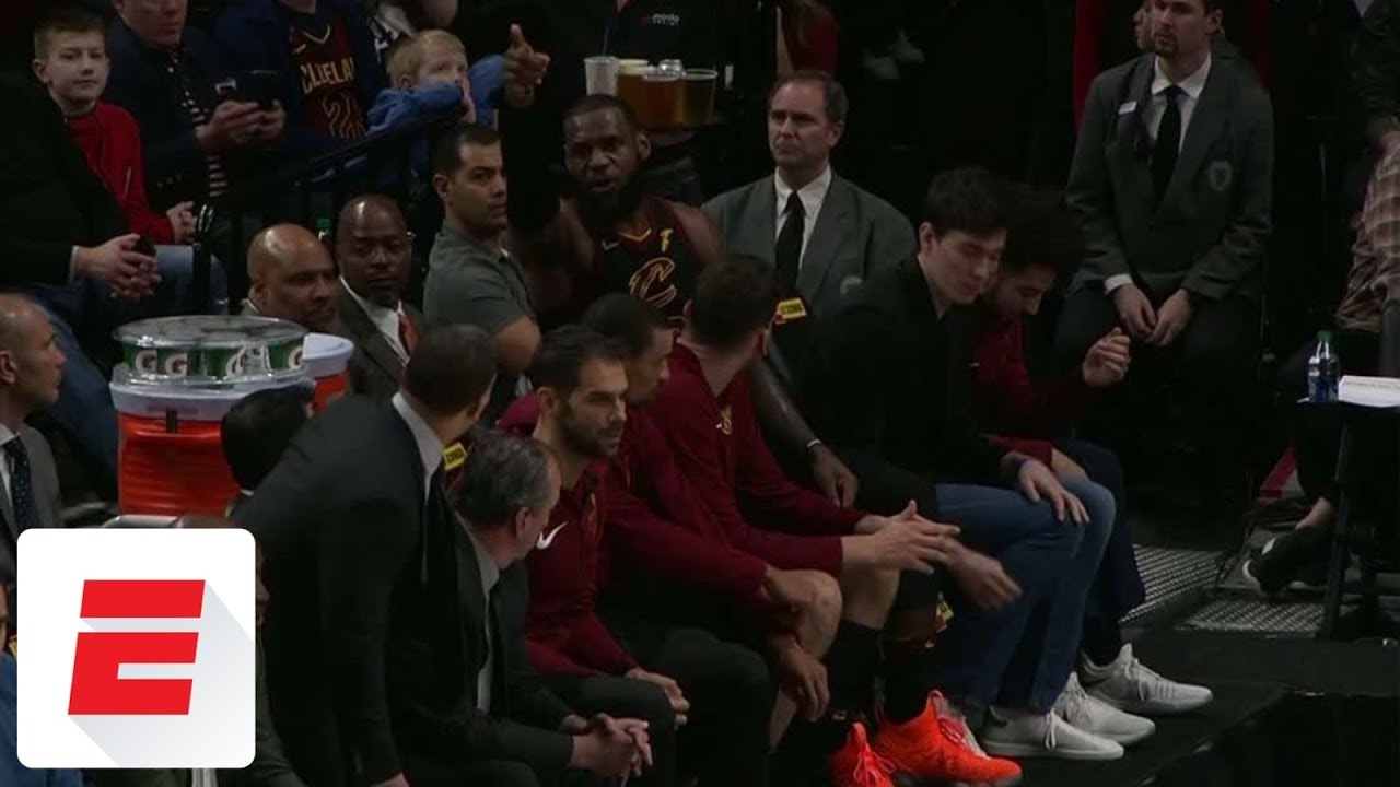 LeBron James gets heated at Tyronn Lue on the bench during Cavaliers vs. Blazers   ESPN