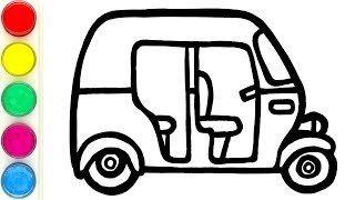How to Draw Auto Rickshaw Easy with Acrylic Paints fro Kids
