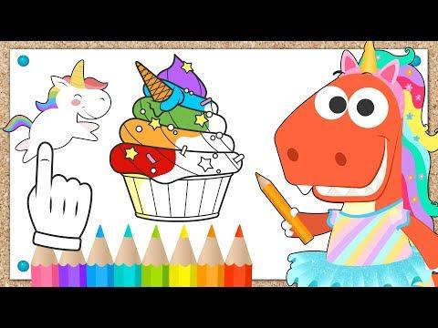 Aprende con Eddie cómo colorear un helado de unicornio 🍦🦄 Eddie el dinosaurio dibuja y pinta