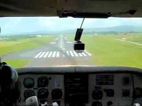 A Scenic Flight in VANUATU by Cessna Aircraft No.4 : Landing at Port Vila Airport, Efate Island.
