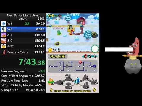 New Super Mario Bros Any% in 23:05 (World Record)