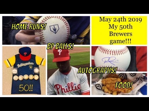 My 50th Milwaukee Brewers Game At Miller Park | Ballpark Food, Autographs, Home Runs, Ballhawking