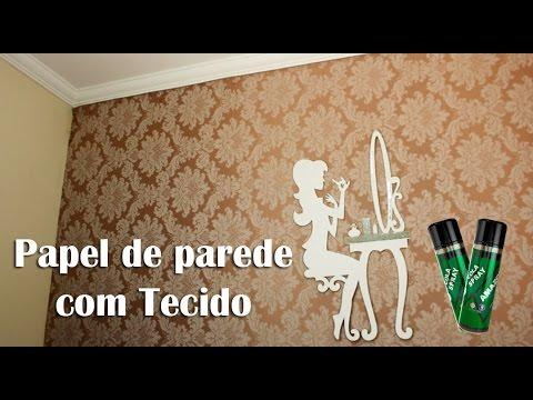 Diy papel de parede com tecido opcao bem mais barata - Papel adhesivo para paredes ...