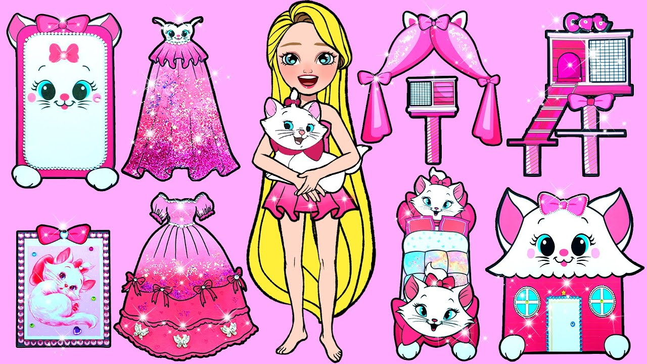 Paper Dolls Dress Up - Disney's Marie Cat Handmade Dresses Quiet Book - Barbie Story & Crafts