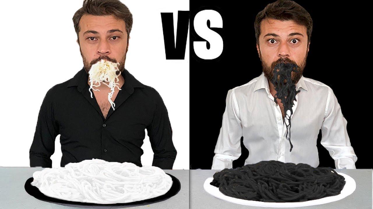 SİYAH VS BEYAZ YEMEK CHALLENGE!!