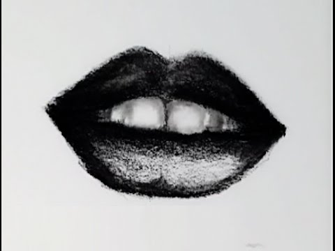 how to draw a realistic lips .. mouth drawing - YouTube