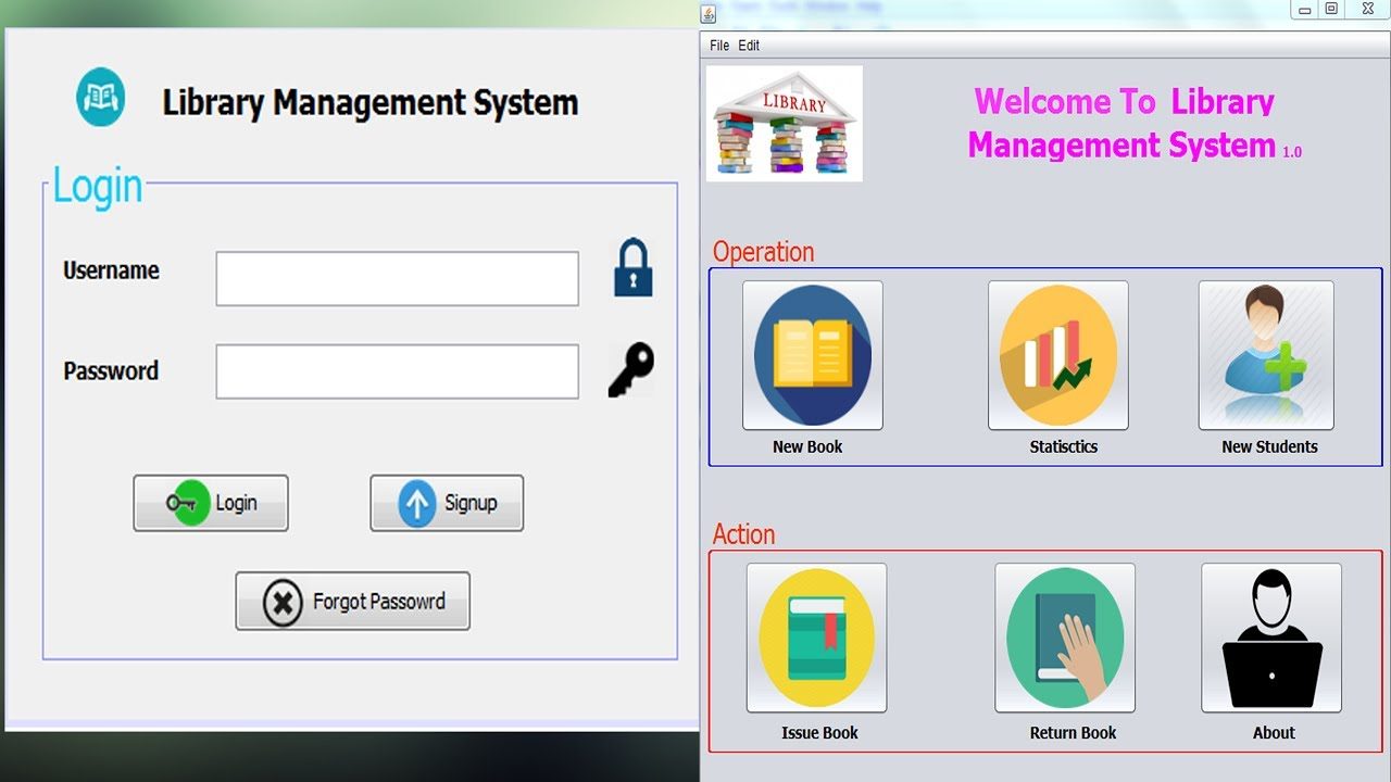 Java project library management system source code