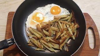Бюджетная сковорода Каждый День с Ашана с антипригарным покрытием.Проверяем ее жарим картошку и яйца