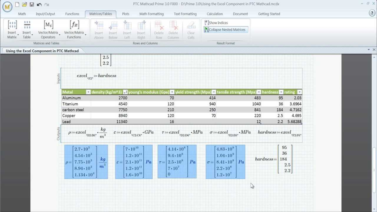 PTC Mathcad Prime 3.0 - Excel Components - YouTube