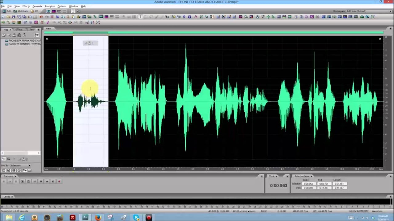 adobe audition basics lesson 17 effects menu telephone effect youtube. Black Bedroom Furniture Sets. Home Design Ideas