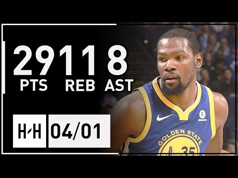 Kevin Durant Full Highlights Suns vs Warriors (2018.04.01) - 29 Pts, 11 Reb, 8 Ast!