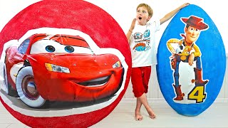Eli and mommy get big Eggs Surprise with Cars and Toy Story 4
