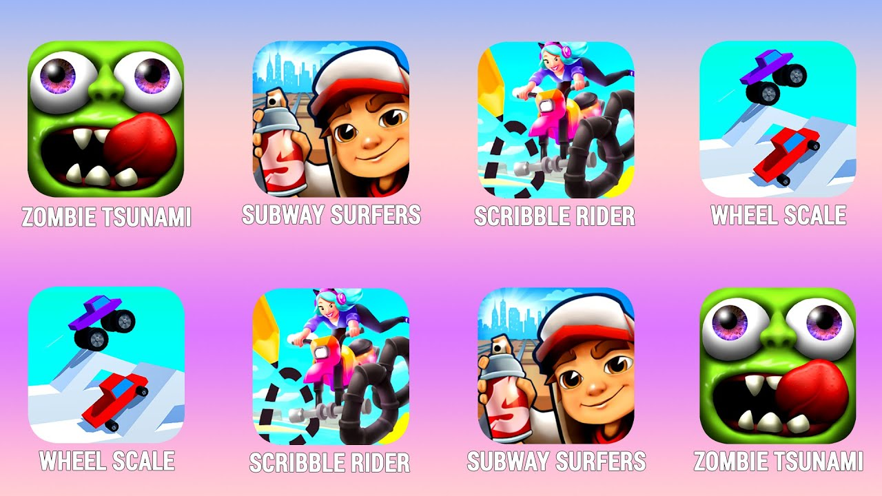 ZOMBIE TSUNAMI, Subway Surfers, Scribble Rider, Wheel Scale Walkthrough (Android) Power of Gameplay