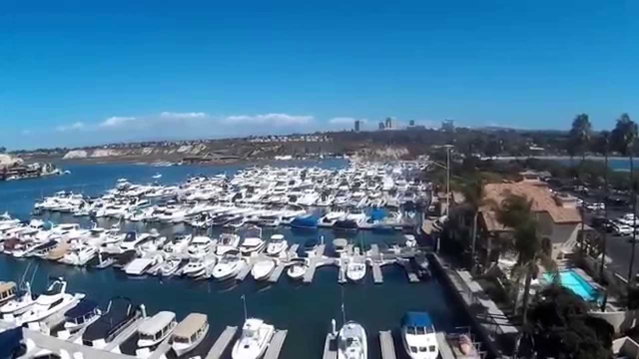 Drone Over Newport Dunes Marina In Beach