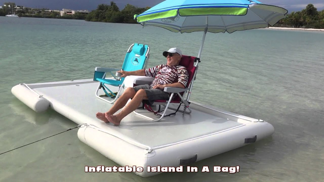 Floating Fishing Chair Replacement Parts Inflatable Island Swim Platform Youtube