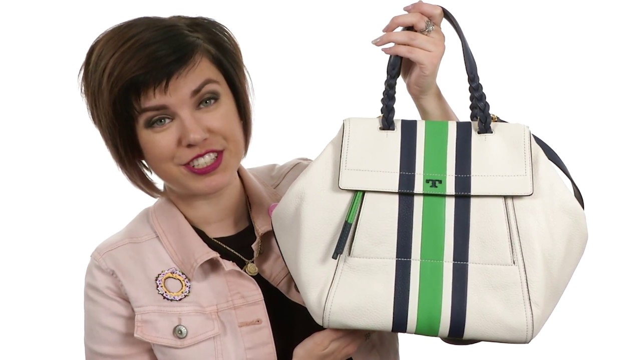 c9b4849ff739c Tory Burch Half-Moon Stripe Satchel SKU 8902324 - YouTube
