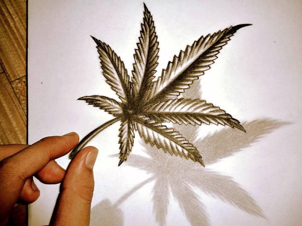 Marijuana/Pot Leaf 3D Drawing