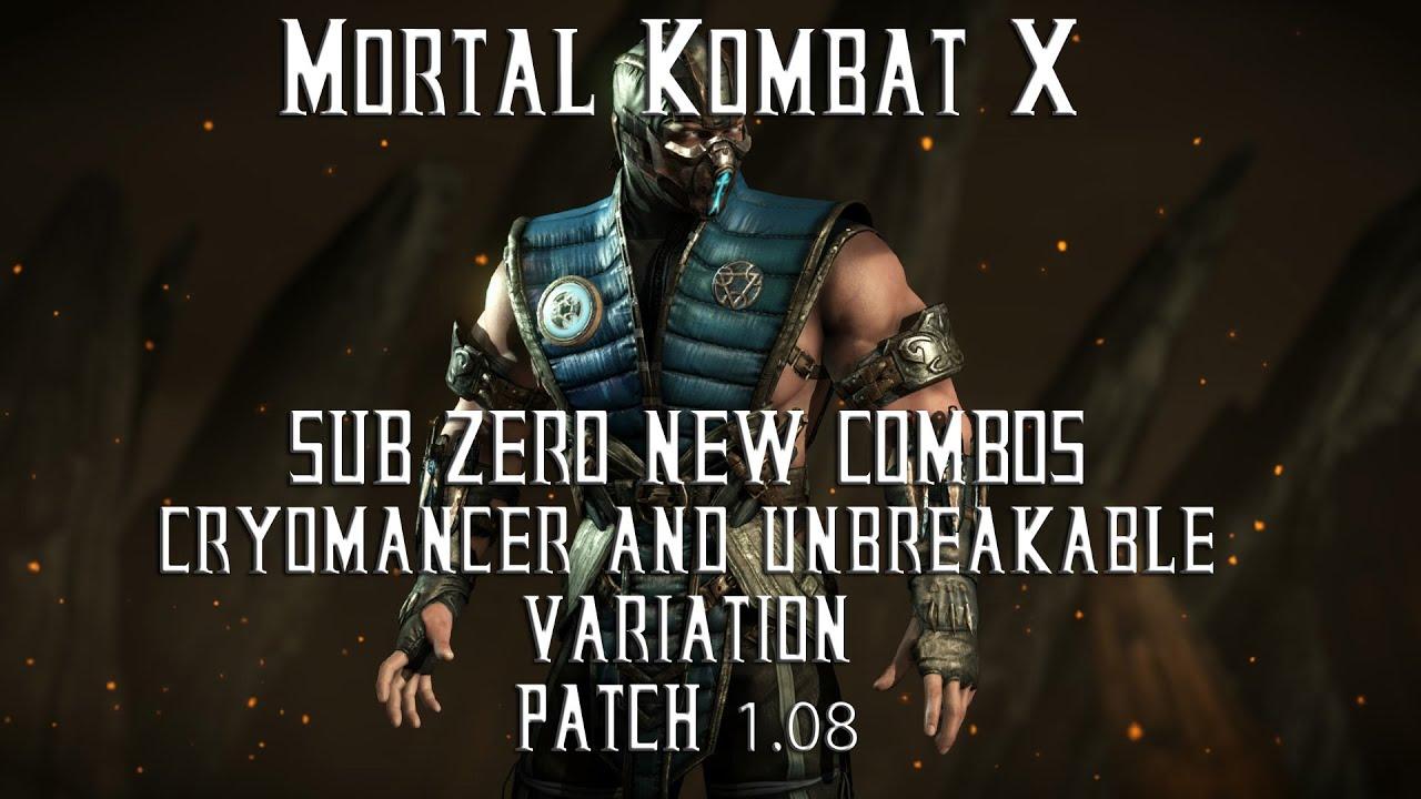 sub zero mortal kombat x variations