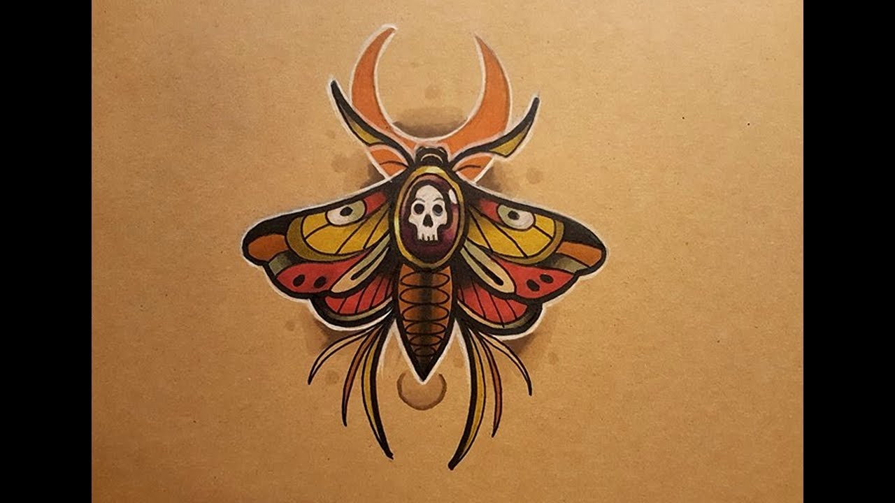 How To Draw A Neo Traditional Moth Tattoo Style Youtube