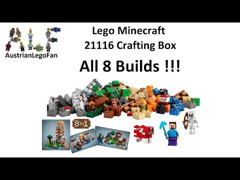 Lego Minecraft 21116 Crafting Box All 8 Builds !!! - Lego Speed Build Review