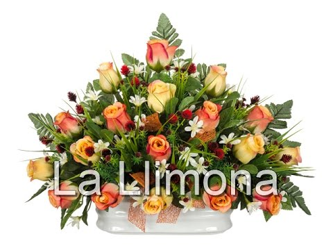 Arreglos florales artificiales Jardinera cermica rosas