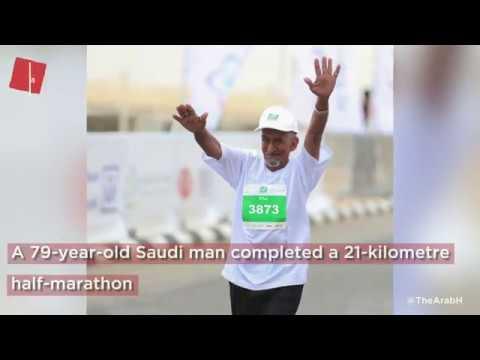 A 79-year-old Saudi man completed a 21-kilometre half-marathon!