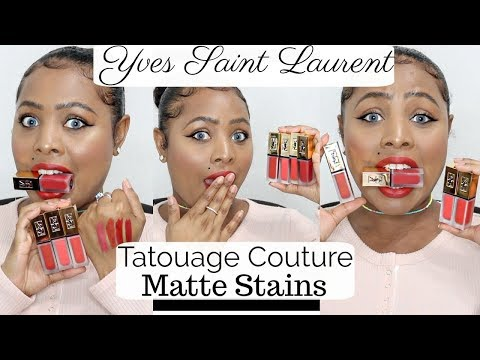 NEW!!! YSL Tatouage Couture Matte Stains~1st Impressions & Review~Yves Saint Laurent  WOC (2017)