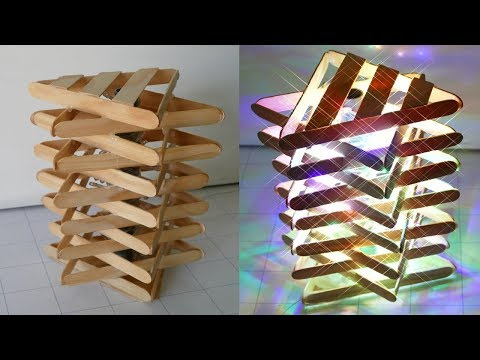 DIY ROOM DECOR!How to Make a Popsicle Stick Lamp / Easy Crafts Ideas at Home