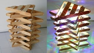 DIY ROOM DECOR! How to Make a Popsicle Stick Lamp Easy Crafts Ideas at Home