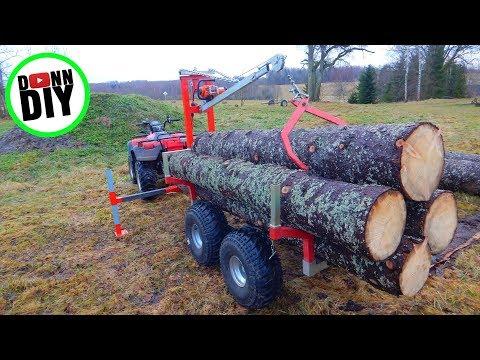 ATV 12 V Winch Powered Timber Trailer CRANE BUILD