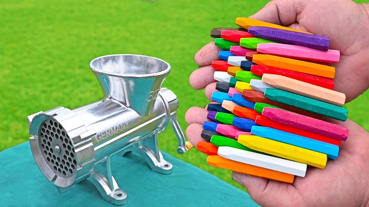 EXPERIMENT COLORFUL CRAYONS VS MEAT GRINDER