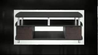 Contemporary Coffee Table Living Room Furniture Storage End Tables Cherry Black