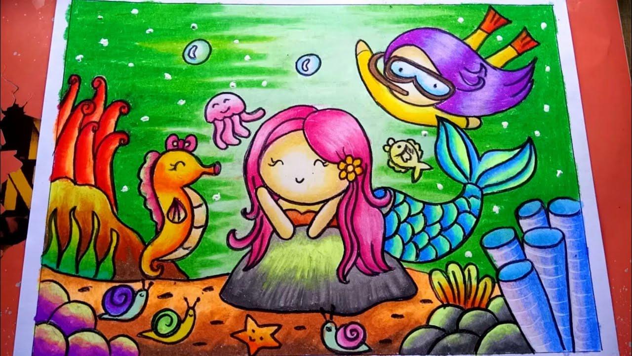How To Draw Mermaid Easy Cara Menggambar Putri Duyung Mewarnai Gradasi Crayon